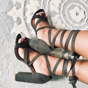 Hunter Green Strappy Sandals